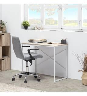 Pack Silla Teo gris claro + escritorio Caceres blanco TopMueble