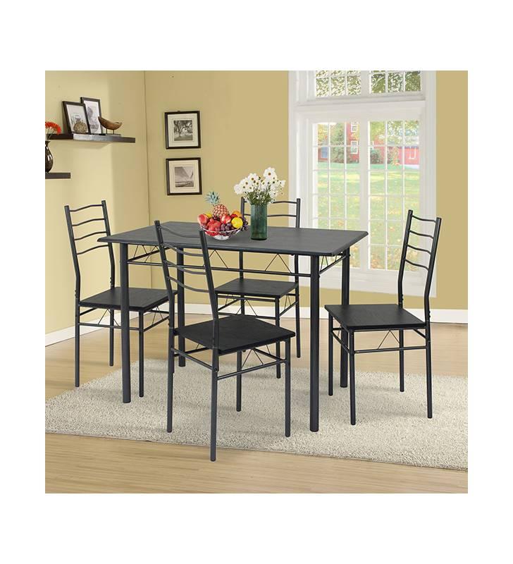 Mesa y 4 sillas Comedor Lima negro Topmueble