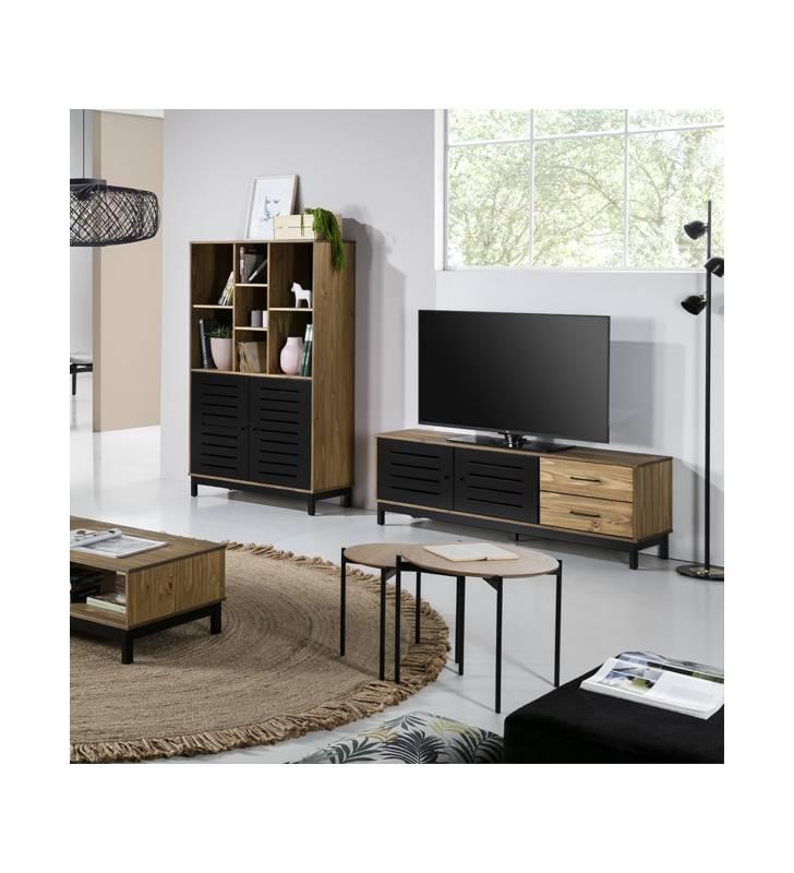 Mueble tv Alexa Negro ambiente Topmueble