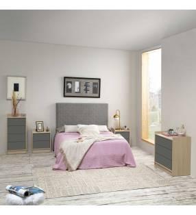 Muebles dormitorio matrimonio Montreal Roble/Gris